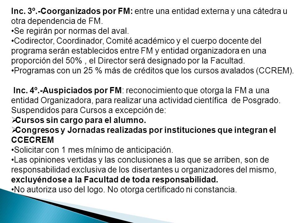 Inc. 3º.-Coorganizados por FM: entre una entidad externa y una cátedra u otra dependencia de FM.