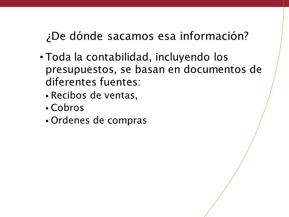 ¿De dónde sacamos esa información? Toda la contabilidad, incluyendo los presupuestos, se basan en documentos de diferentes fuentes: Recibos de ventas,