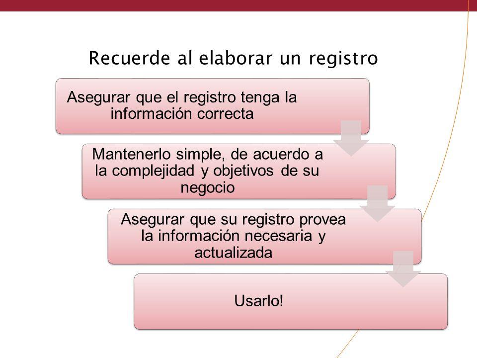 Recuerde al elaborar un registro Asegurar que el registro tenga la información correcta Mantenerlo simple, de acuerdo a la complejidad y objetivos de