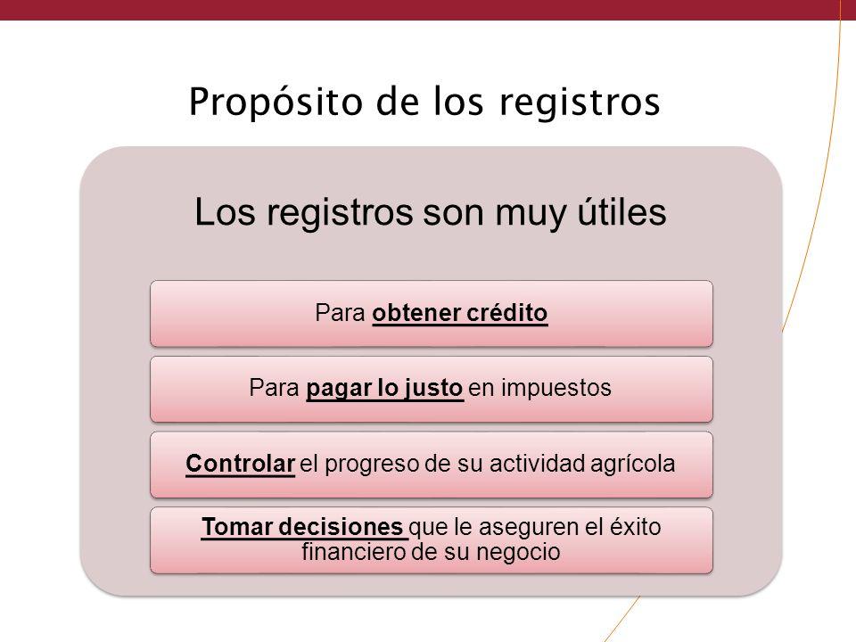Propósito de los registros Los registros son muy útiles Para obtener créditoPara pagar lo justo en impuestosControlar el progreso de su actividad agrí