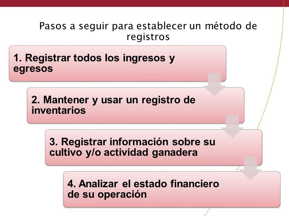 Pasos a seguir para establecer un método de registros 1. Registrar todos los ingresos y egresos 2. Mantener y usar un registro de inventarios 3. Regis