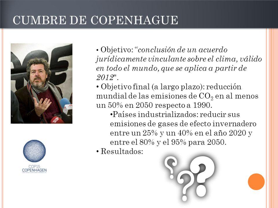 CUMBRE DE COPENHAGUE Objetivo: conclusión de un acuerdo jurídicamente vinculante sobre el clima, válido en todo el mundo, que se aplica a partir de 20