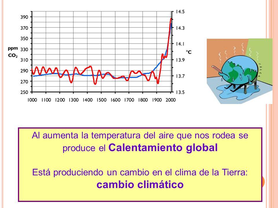 Al aumenta la temperatura del aire que nos rodea se produce el Calentamiento global Está produciendo un cambio en el clima de la Tierra: cambio climát