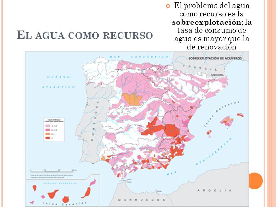 E L AGUA COMO RECURSO El problema del agua como recurso es la sobreexplotación ; la tasa de consumo de agua es mayor que la de renovación