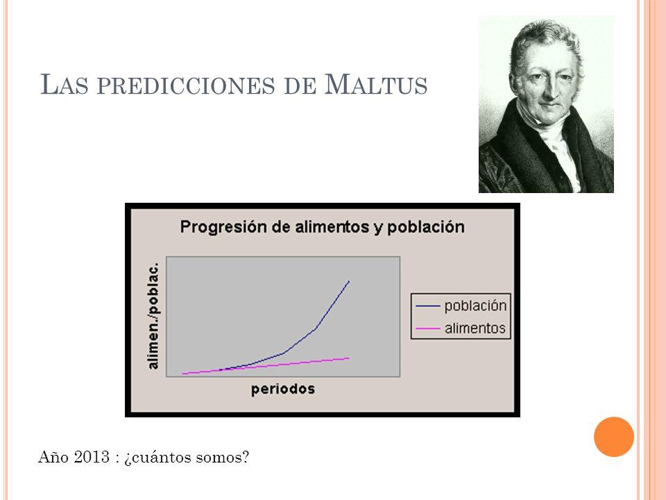 L AS PREDICCIONES DE M ALTUS Año 2013 : ¿cuántos somos?