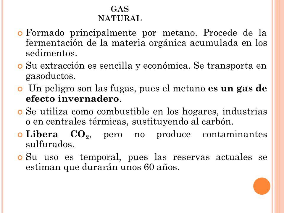GAS NATURAL Formado principalmente por metano. Procede de la fermentación de la materia orgánica acumulada en los sedimentos. Su extracción es sencill