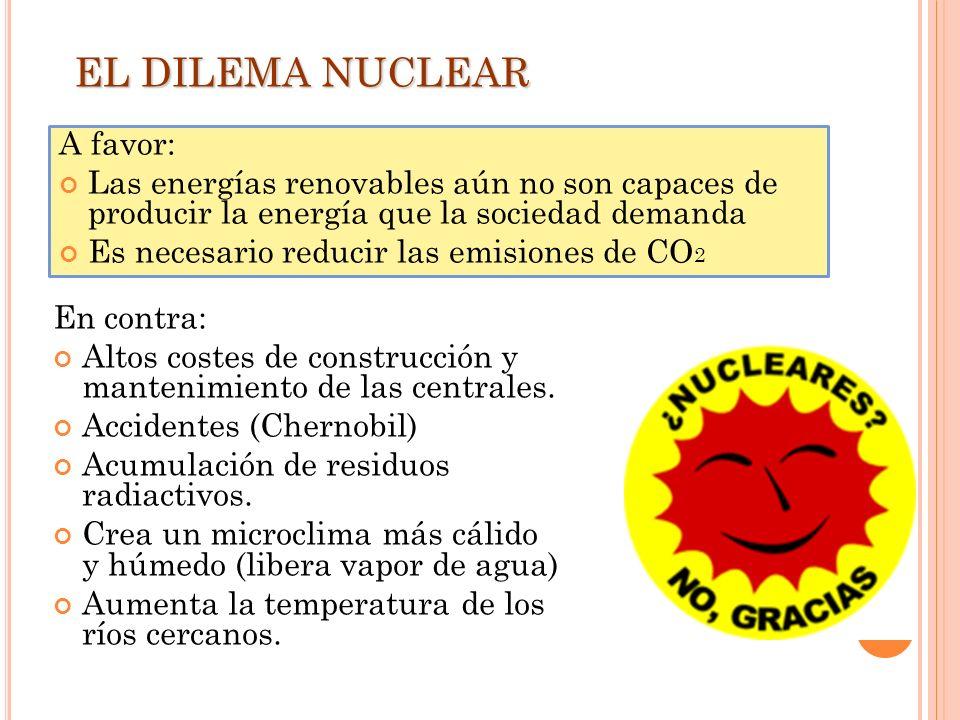 En contra: Altos costes de construcción y mantenimiento de las centrales. Accidentes (Chernobil) Acumulación de residuos radiactivos. Crea un microcli