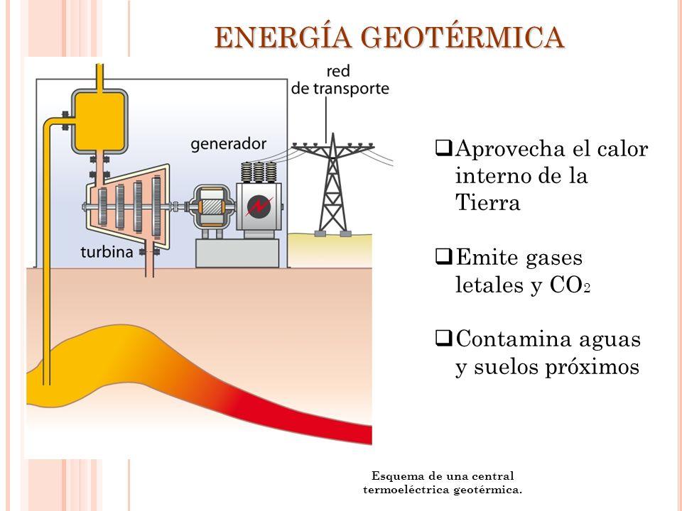 Esquema de una central termoeléctrica geotérmica. ENERGÍA GEOTÉRMICA Aprovecha el calor interno de la Tierra Emite gases letales y CO 2 Contamina agua