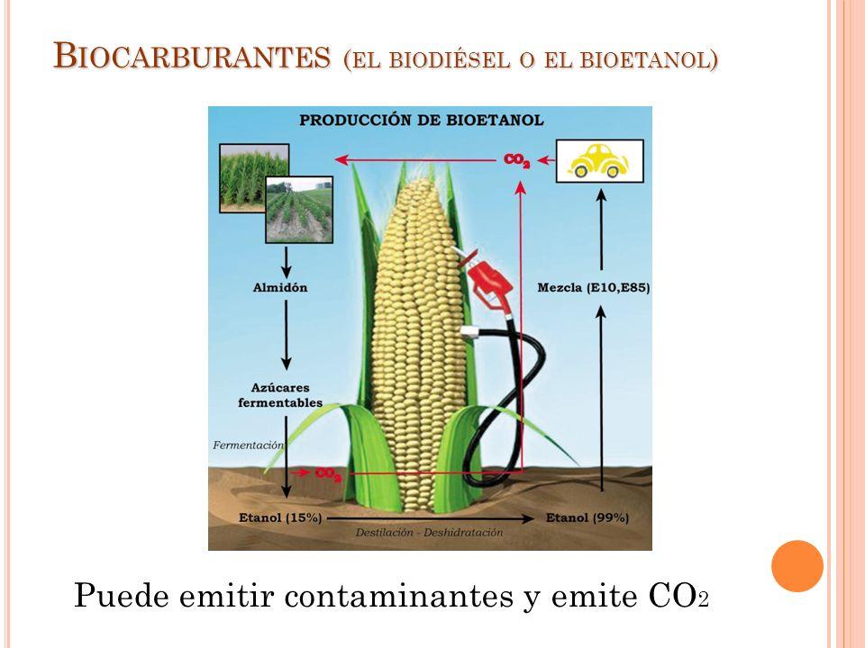 B IOCARBURANTES ( EL BIODIÉSEL O EL BIOETANOL ) Puede emitir contaminantes y emite CO 2