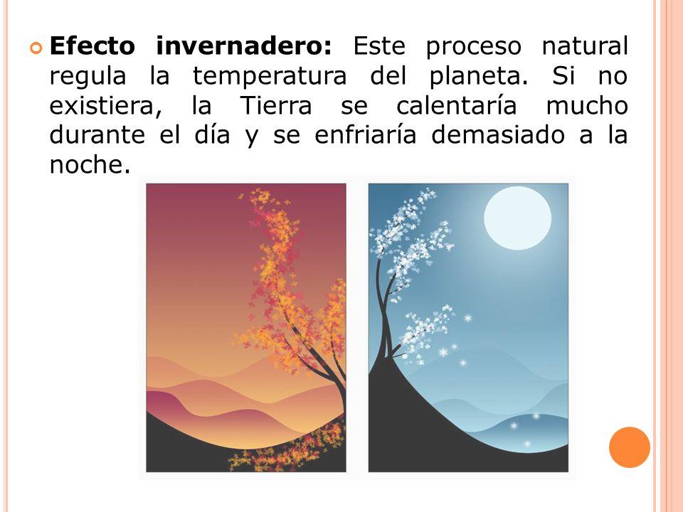 Efecto invernadero: Este proceso natural regula la temperatura del planeta. Si no existiera, la Tierra se calentaría mucho durante el día y se enfriar