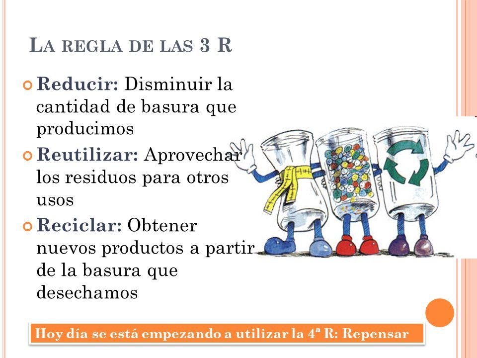 L A REGLA DE LAS 3 R Reducir: Disminuir la cantidad de basura que producimos Reutilizar: Aprovechar los residuos para otros usos Reciclar: Obtener nue