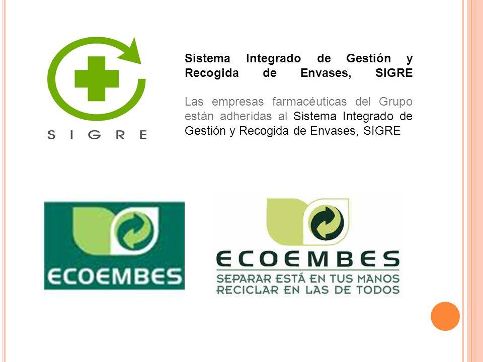 Sistema Integrado de Gestión y Recogida de Envases, SIGRE Las empresas farmacéuticas del Grupo están adheridas al Sistema Integrado de Gestión y Recog