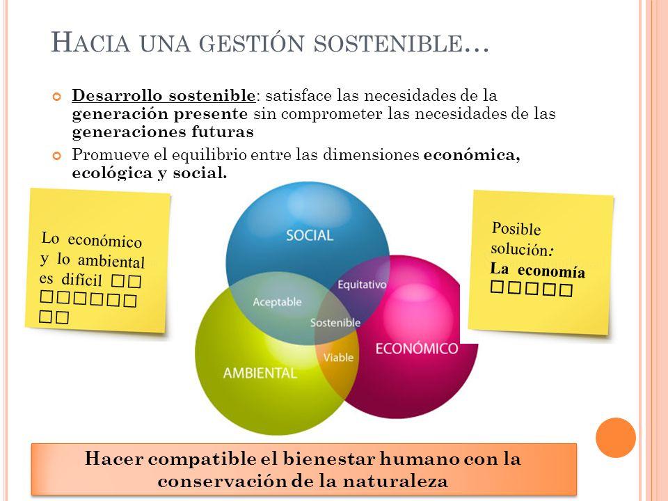 H ACIA UNA GESTIÓN SOSTENIBLE … Desarrollo sostenible : satisface las necesidades de la generación presente sin comprometer las necesidades de las gen
