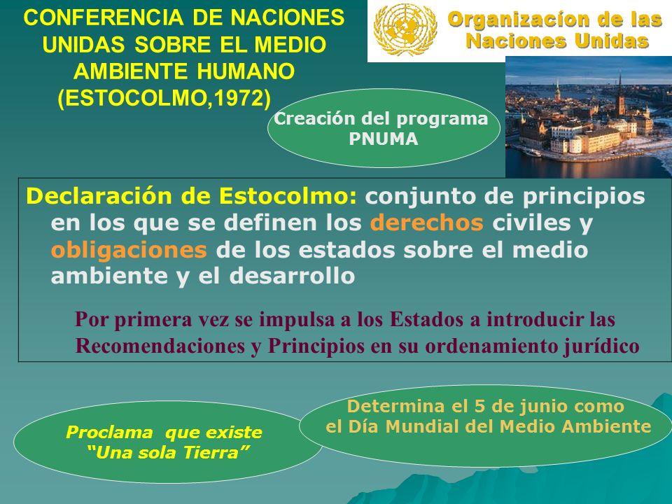 CONFERENCIA DE NACIONES UNIDAS SOBRE EL MEDIO AMBIENTE HUMANO (ESTOCOLMO,1972) Declaración de Estocolmo: conjunto de principios en los que se definen