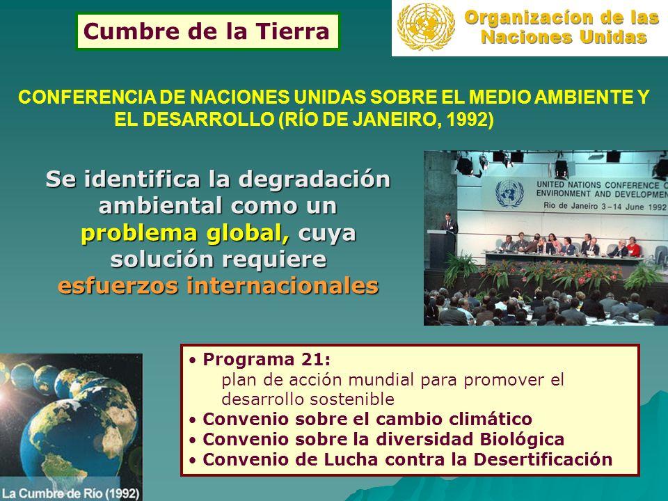 CONFERENCIA DE NACIONES UNIDAS SOBRE EL MEDIO AMBIENTE Y EL DESARROLLO (RÍO DE JANEIRO, 1992) Se identifica la degradación ambiental como un problema