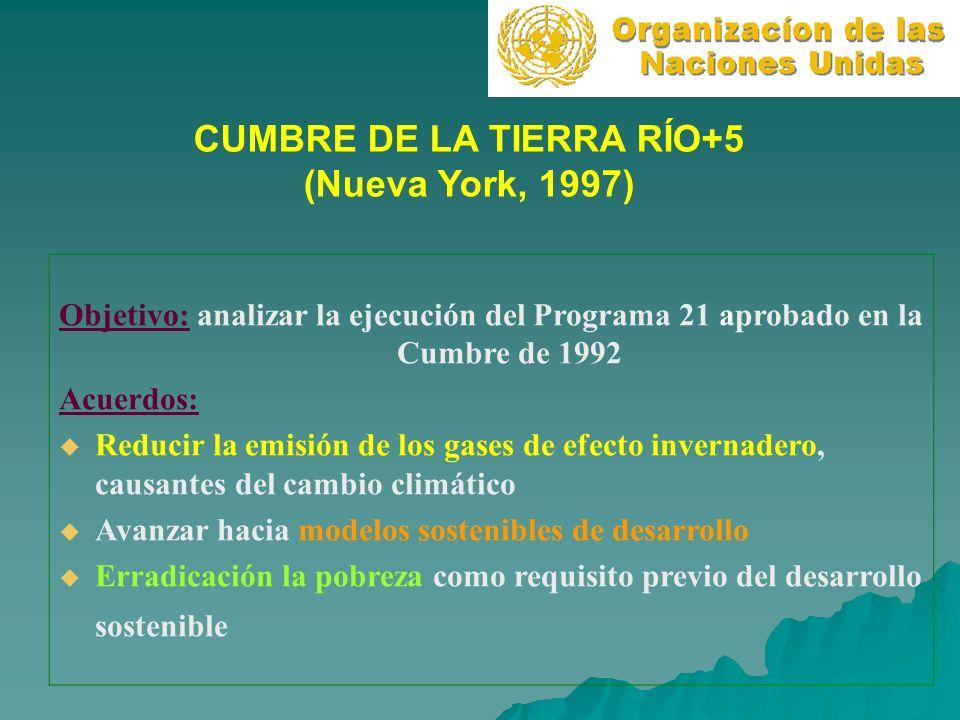 CUMBRE DE LA TIERRA RÍO+5 (Nueva York, 1997) Objetivo: analizar la ejecución del Programa 21 aprobado en la Cumbre de 1992 Acuerdos: Reducir la emisió