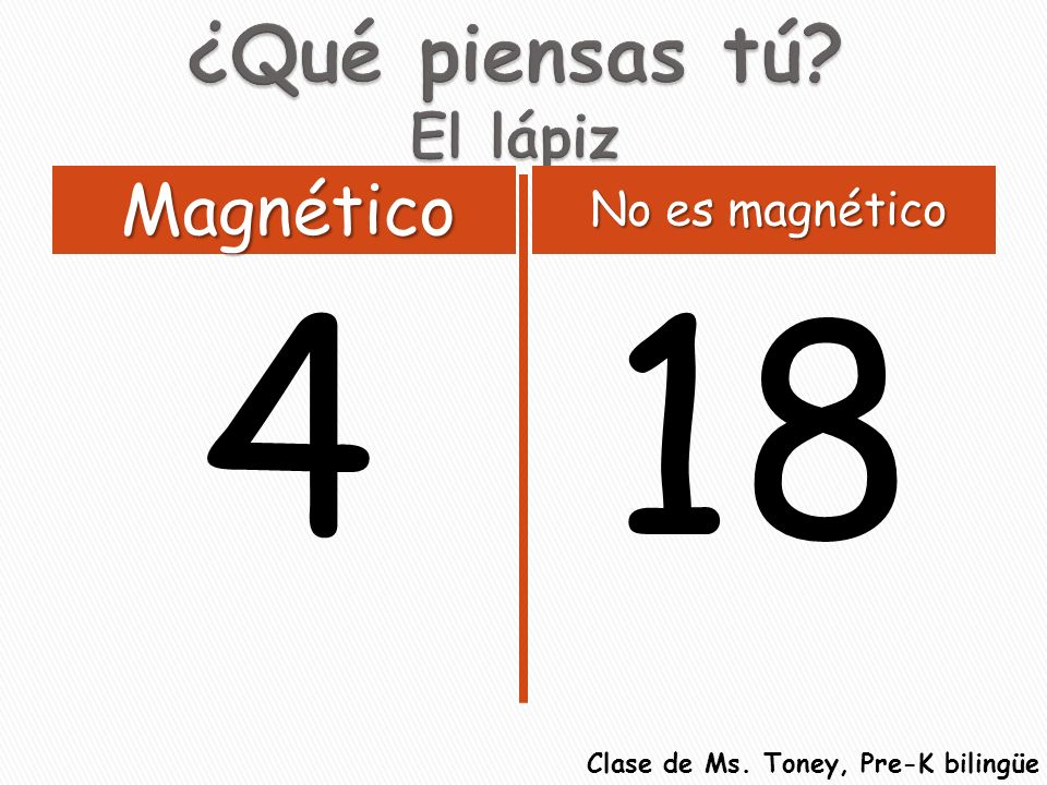 418 Magnético No es magnético Clase de Ms. Toney, Pre-K bilingüe