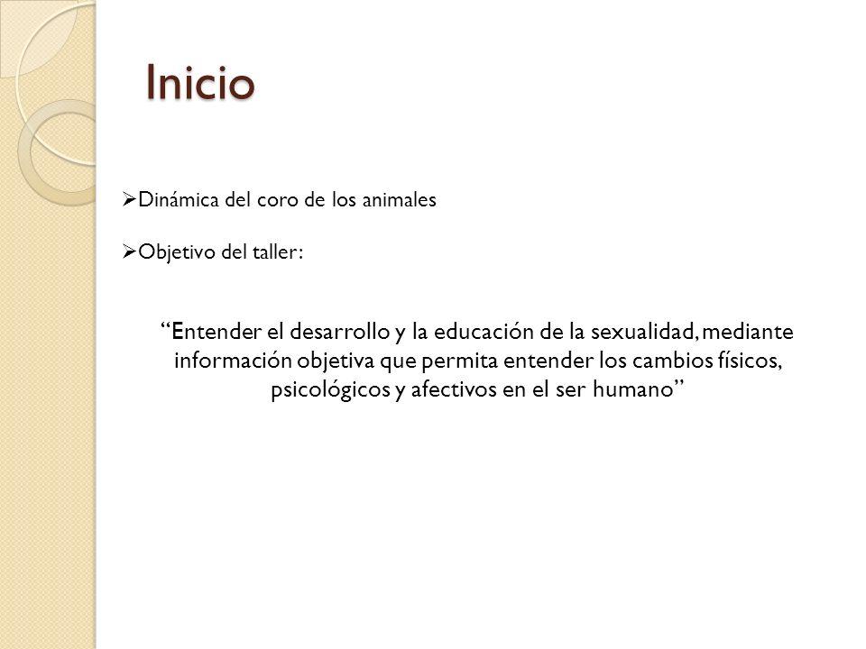 Inicio Dinámica del coro de los animales Objetivo del taller: Entender el desarrollo y la educación de la sexualidad, mediante información objetiva qu
