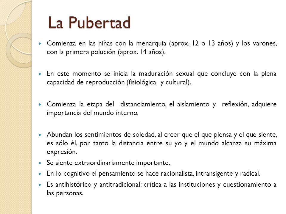 La Pubertad Comienza en las niñas con la menarquia (aprox. 12 o 13 años) y los varones, con la primera polución (aprox. 14 años). En este momento se i