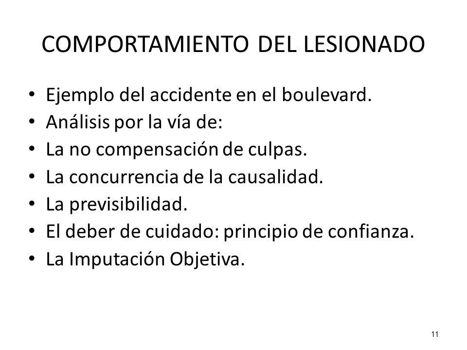 11 COMPORTAMIENTO DEL LESIONADO Ejemplo del accidente en el boulevard. Análisis por la vía de: La no compensación de culpas. La concurrencia de la cau