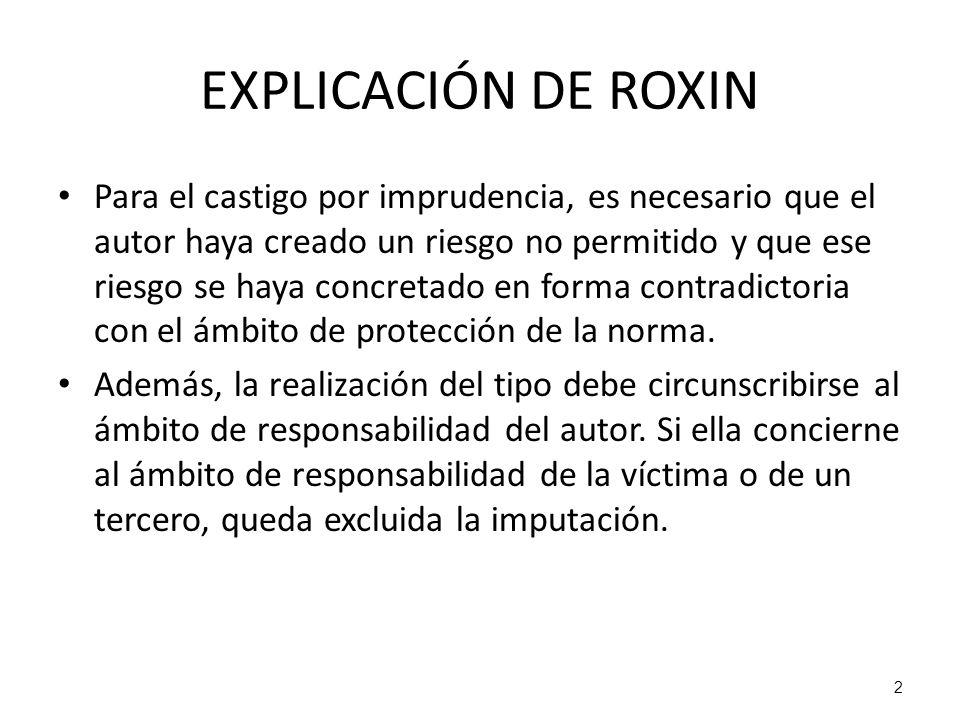 2 EXPLICACIÓN DE ROXIN Para el castigo por imprudencia, es necesario que el autor haya creado un riesgo no permitido y que ese riesgo se haya concreta