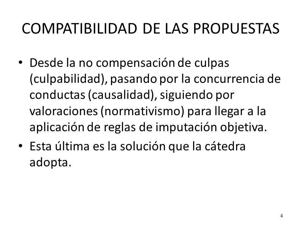 4 COMPATIBILIDAD DE LAS PROPUESTAS Desde la no compensación de culpas (culpabilidad), pasando por la concurrencia de conductas (causalidad), siguiendo