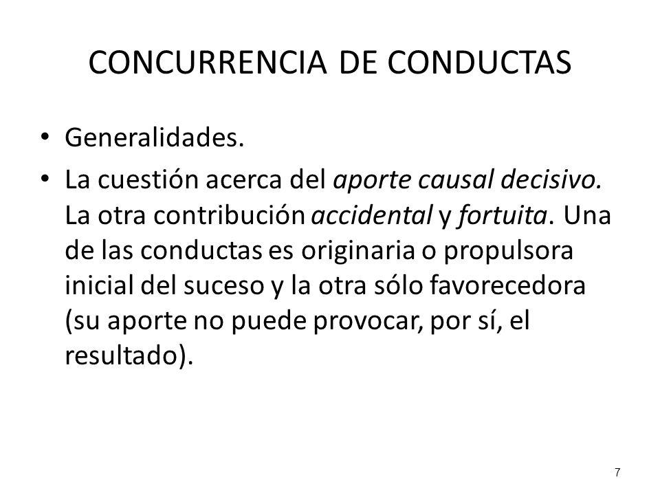 7 CONCURRENCIA DE CONDUCTAS Generalidades. La cuestión acerca del aporte causal decisivo. La otra contribución accidental y fortuita. Una de las condu