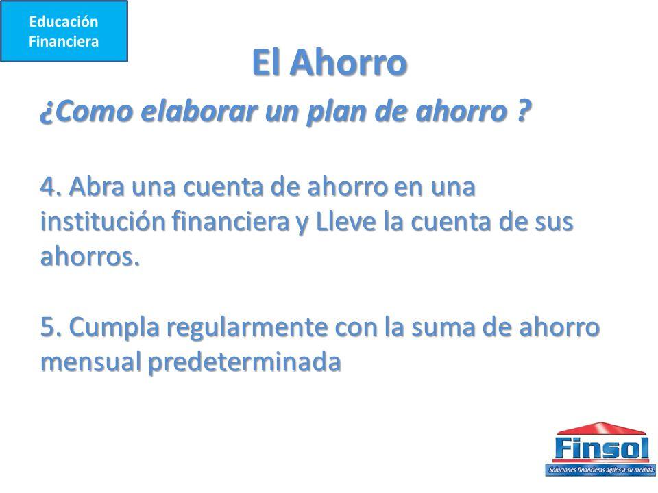 El Ahorro ¿Como elaborar un plan de ahorro .4.