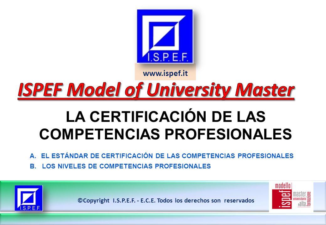 14 LA CERTIFICACIÓN DE LAS COMPETENCIAS PROFESIONALES ©Copyright I.S.P.E.F.