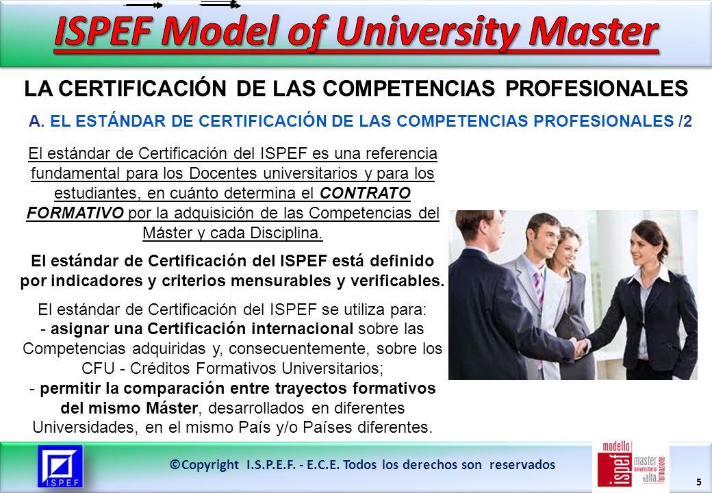 5 LA CERTIFICACIÓN DE LAS COMPETENCIAS PROFESIONALES ©Copyright I.S.P.E.F.