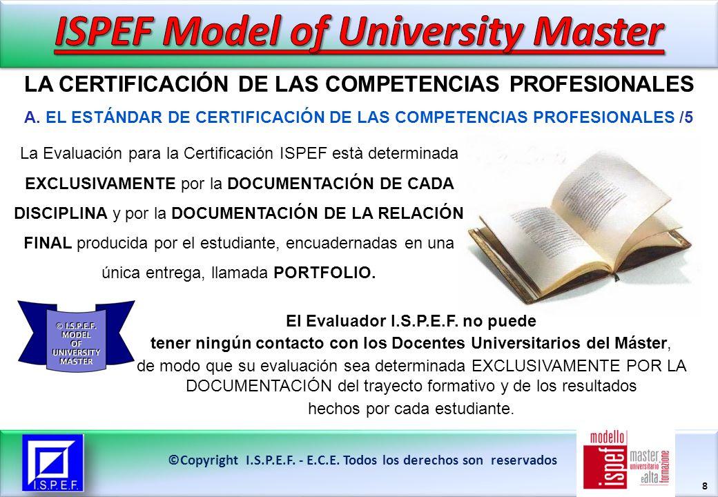 19 LA CERTIFICACIÓN DE LAS COMPETENCIAS PROFESIONALES ©Copyright I.S.P.E.F.