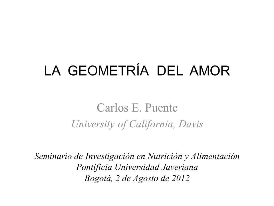 LA GEOMETRÍA DEL AMOR Carlos E. Puente University of California, Davis Seminario de Investigación en Nutrición y Alimentación Pontificia Universidad J