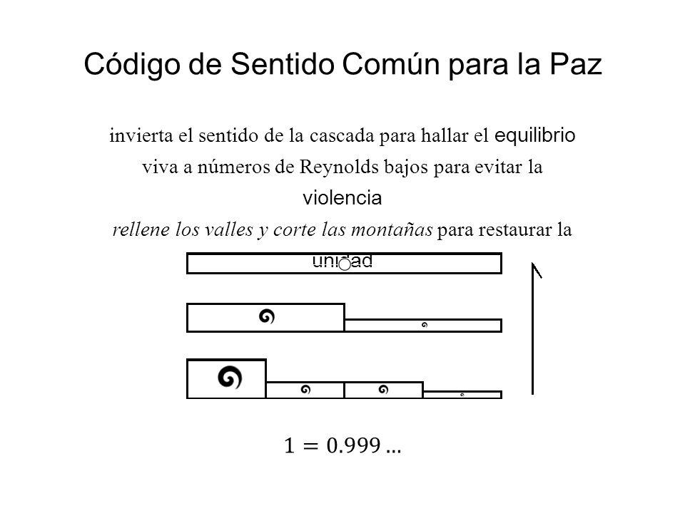 Código de Sentido Común para la Paz invierta el sentido de la cascada para hallar el equilibrio viva a números de Reynolds bajos para evitar la violen