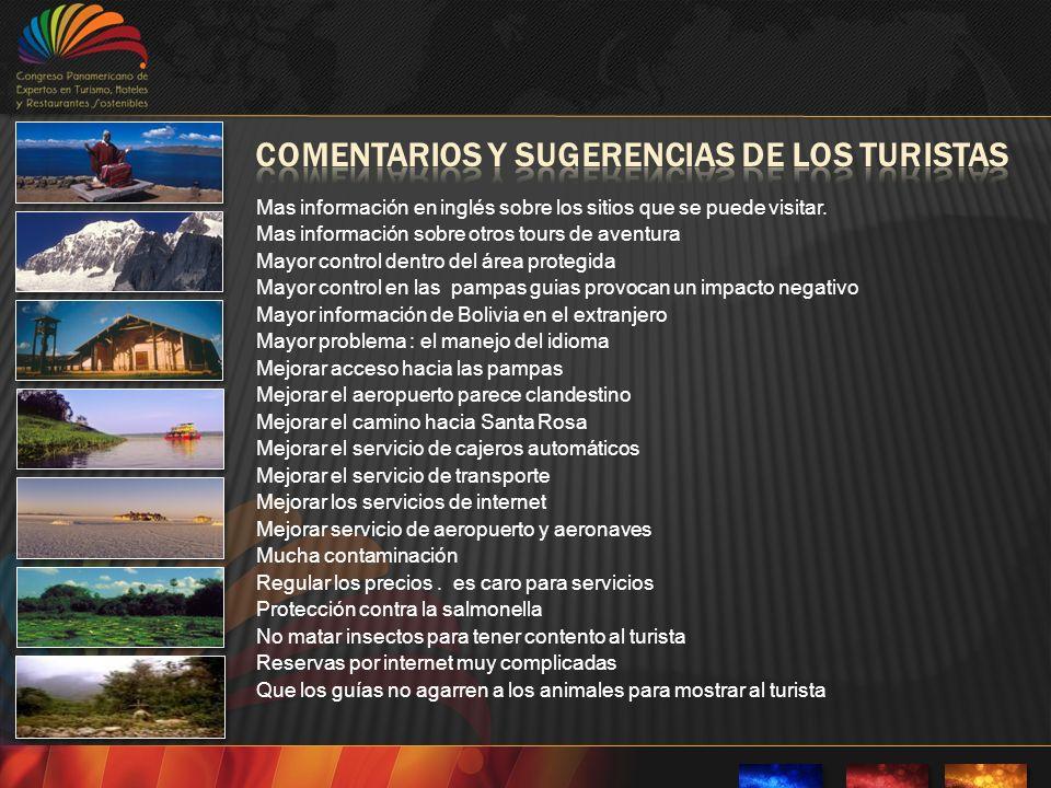 Mas información en inglés sobre los sitios que se puede visitar.