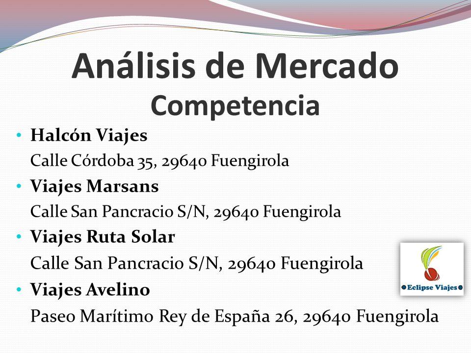Competencia Análisis de Mercado Halcón Viajes Calle Córdoba 35, 29640 Fuengirola Viajes Marsans Calle San Pancracio S/N, 29640 Fuengirola Viajes Ruta