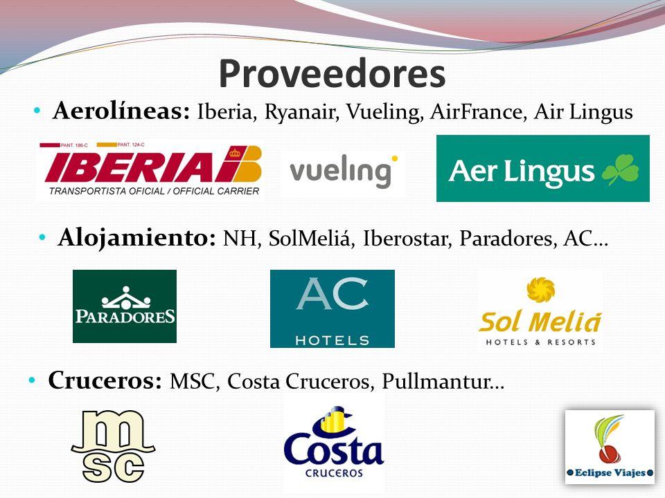 Aerolíneas: Iberia, Ryanair, Vueling, AirFrance, Air Lingus Proveedores Alojamiento: NH, SolMeliá, Iberostar, Paradores, AC… Cruceros: MSC, Costa Cruc