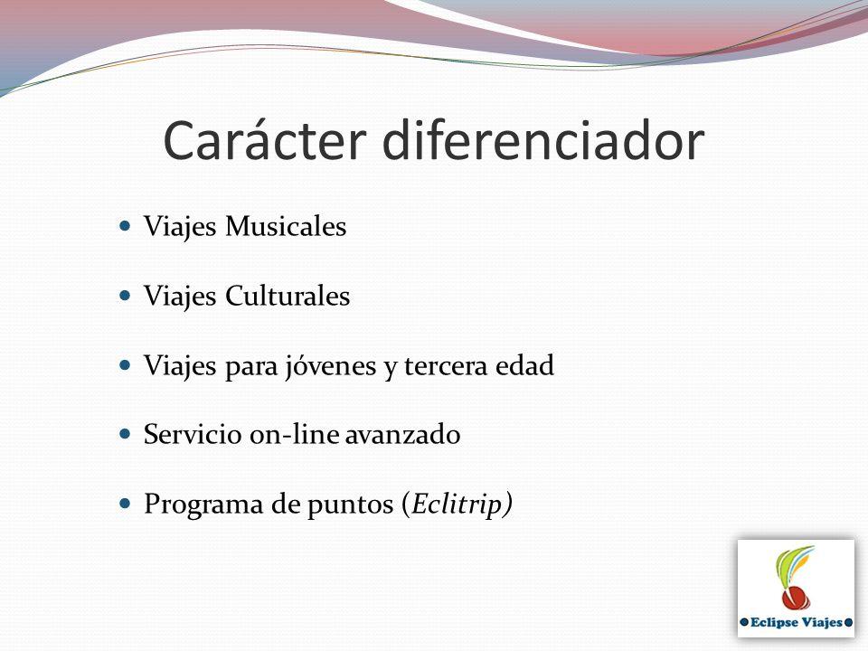 Carácter diferenciador Viajes Musicales Viajes Culturales Viajes para jóvenes y tercera edad Servicio on-line avanzado Programa de puntos (Eclitrip)