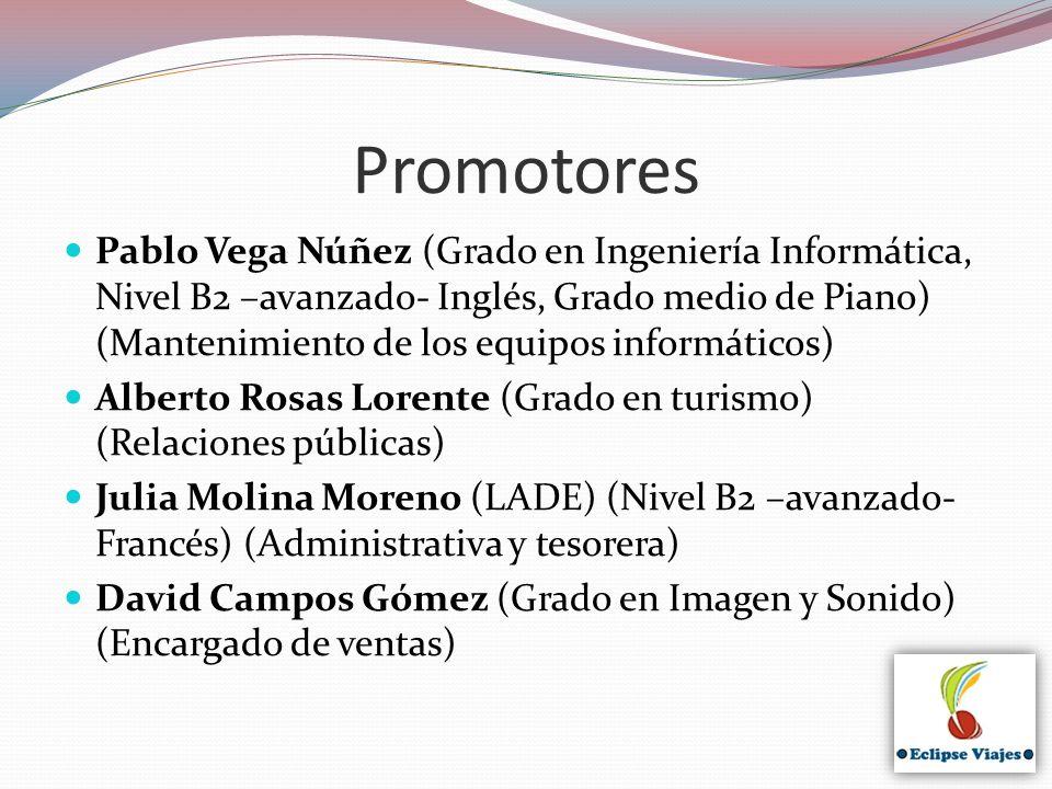 Promotores Pablo Vega Núñez (Grado en Ingeniería Informática, Nivel B2 –avanzado- Inglés, Grado medio de Piano) (Mantenimiento de los equipos informát