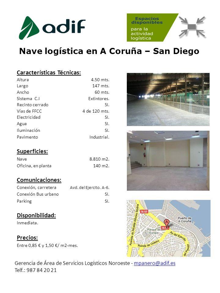 Nave logística en A Coruña – San Diego Gerencia de Área de Servicios Logísticos Noroeste - mpanero@adif.esmpanero@adif.es Telf.: 987 84 20 21 Caracter