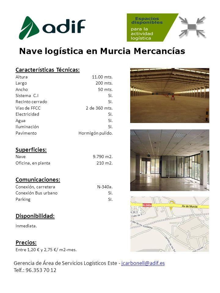 Nave logística en Murcia Mercancías Gerencia de Área de Servicios Logísticos Este - jcarbonell@adif.es Telf.: 96.353 70 12jcarbonell@adif.es Caracterí