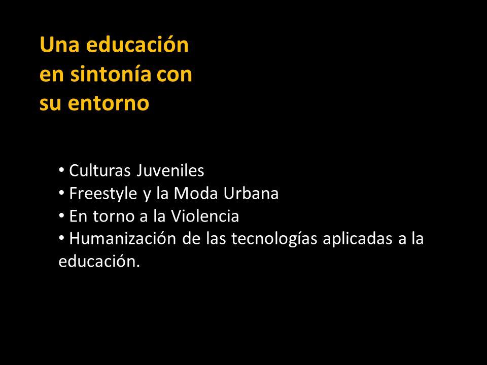 Una educación en sintonía con su entorno Culturas Juveniles Freestyle y la Moda Urbana En torno a la Violencia Humanización de las tecnologías aplicadas a la educación.