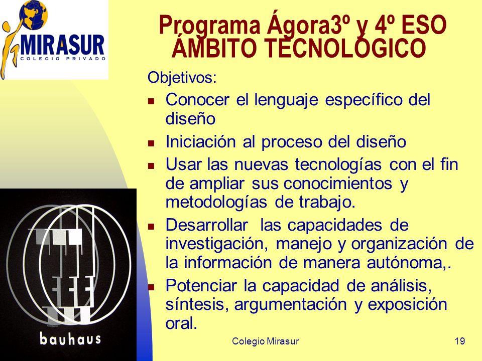 Colegio Mirasur19 Programa Ágora3º y 4º ESO ÁMBITO TECNOLÓGICO Objetivos: Conocer el lenguaje específico del diseño Iniciación al proceso del diseño Usar las nuevas tecnologías con el fin de ampliar sus conocimientos y metodologías de trabajo.