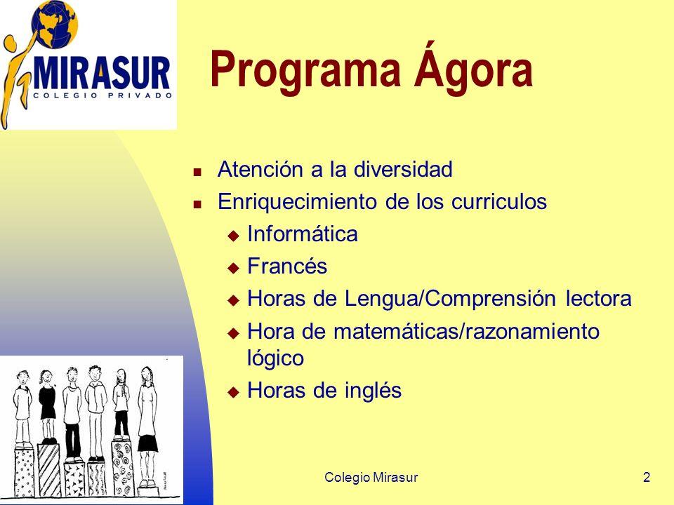 Colegio Mirasur2 Programa Ágora Atención a la diversidad Enriquecimiento de los curriculos Informática Francés Horas de Lengua/Comprensión lectora Hora de matemáticas/razonamiento lógico Horas de inglés