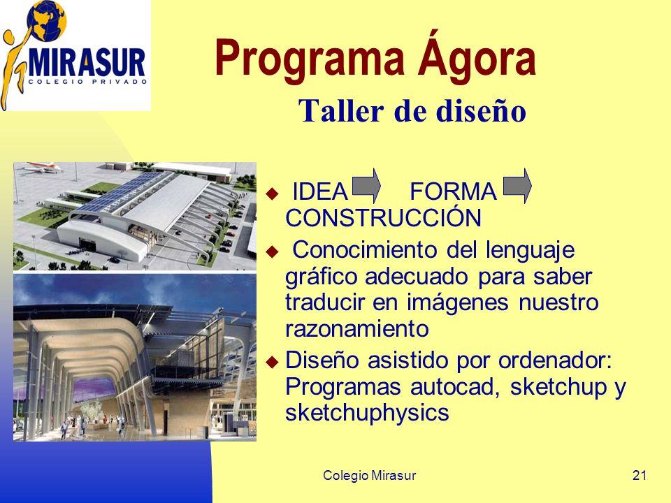 Colegio Mirasur21 Programa Ágora Taller de diseño IDEA FORMA CONSTRUCCIÓN Conocimiento del lenguaje gráfico adecuado para saber traducir en imágenes nuestro razonamiento Diseño asistido por ordenador: Programas autocad, sketchup y sketchuphysics