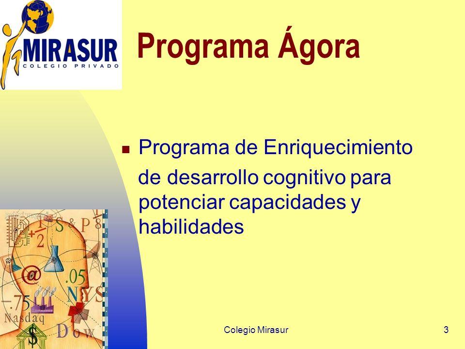 Colegio Mirasur3 Programa Ágora Programa de Enriquecimiento de desarrollo cognitivo para potenciar capacidades y habilidades