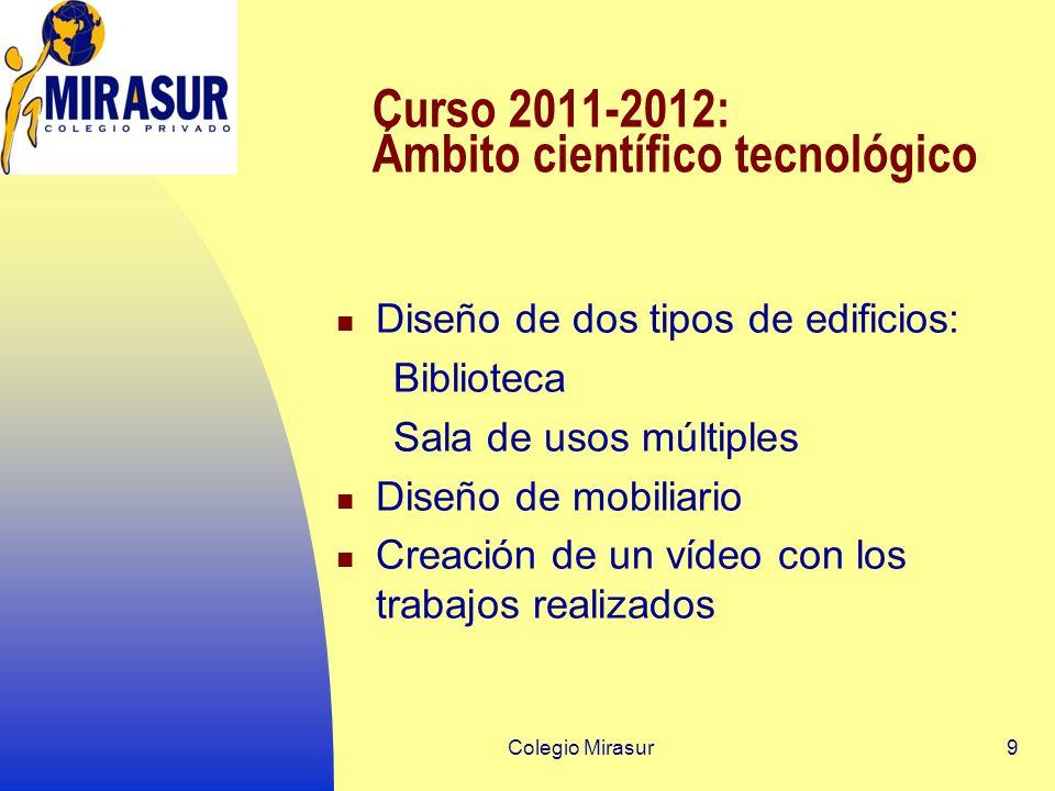 Colegio Mirasur9 Curso 2011-2012: Ámbito científico tecnológico Diseño de dos tipos de edificios: Biblioteca Sala de usos múltiples Diseño de mobiliario Creación de un vídeo con los trabajos realizados