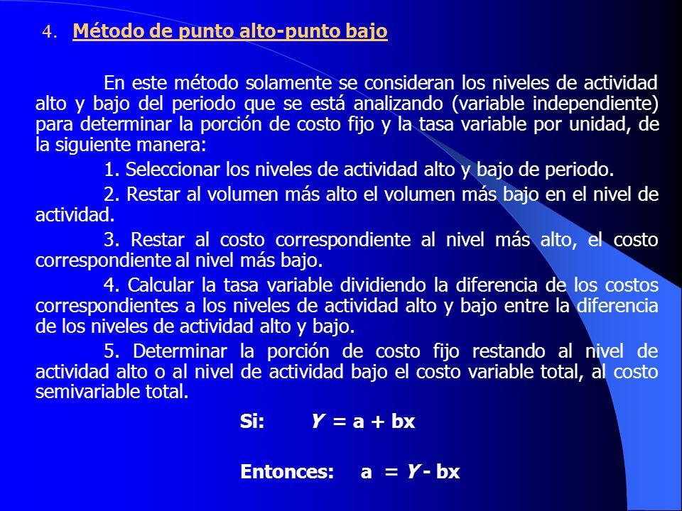 Método de punto alto-punto bajo En este método solamente se consideran los niveles de actividad alto y bajo del periodo que se está analizando (variable independiente) para determinar la porción de costo fijo y la tasa variable por unidad, de la siguiente manera: 1.