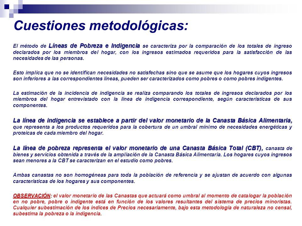 Cuestiones metodológicas: Líneas de Pobreza e Indigencia El método de Líneas de Pobreza e Indigencia se caracteriza por la comparación de los totales