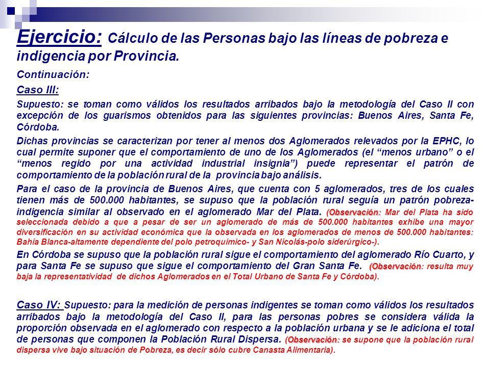 Ejercicio: Cálculo de las Personas bajo las líneas de pobreza e indigencia por Provincia. Continuación: Caso III: Supuesto: se toman como válidos los