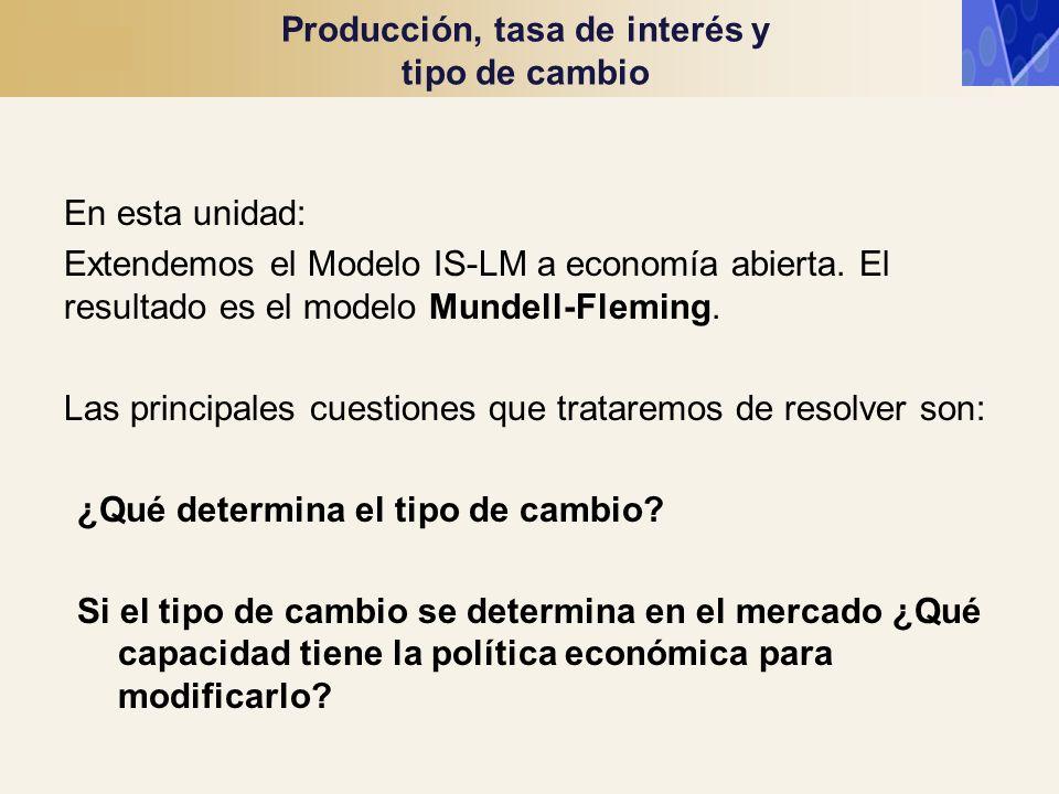 Producción, tasa de interés y tipo de cambio En esta unidad: Extendemos el Modelo IS-LM a economía abierta. El resultado es el modelo Mundell-Fleming.